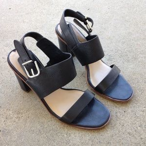 Via Spiga Black Leather Strappy Sandals